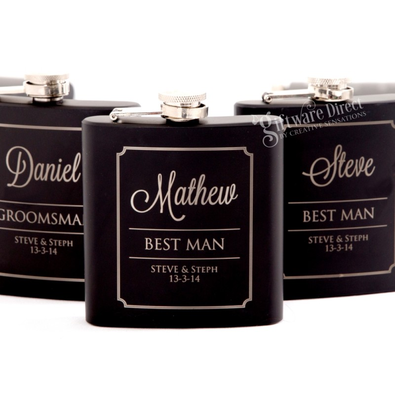 Personalised engraved black wedding hip flask set - groomsman gift
