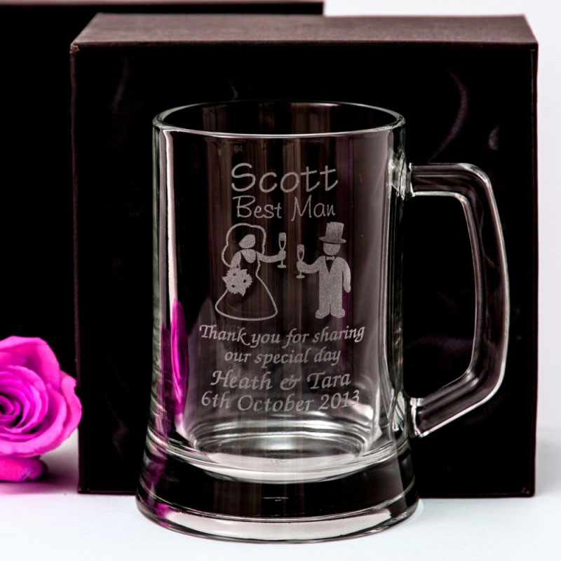 Engraved Wedding Mugs : Engraved 500m Beer Mug Gift Boxed Box Glass Wedding Personalised ...