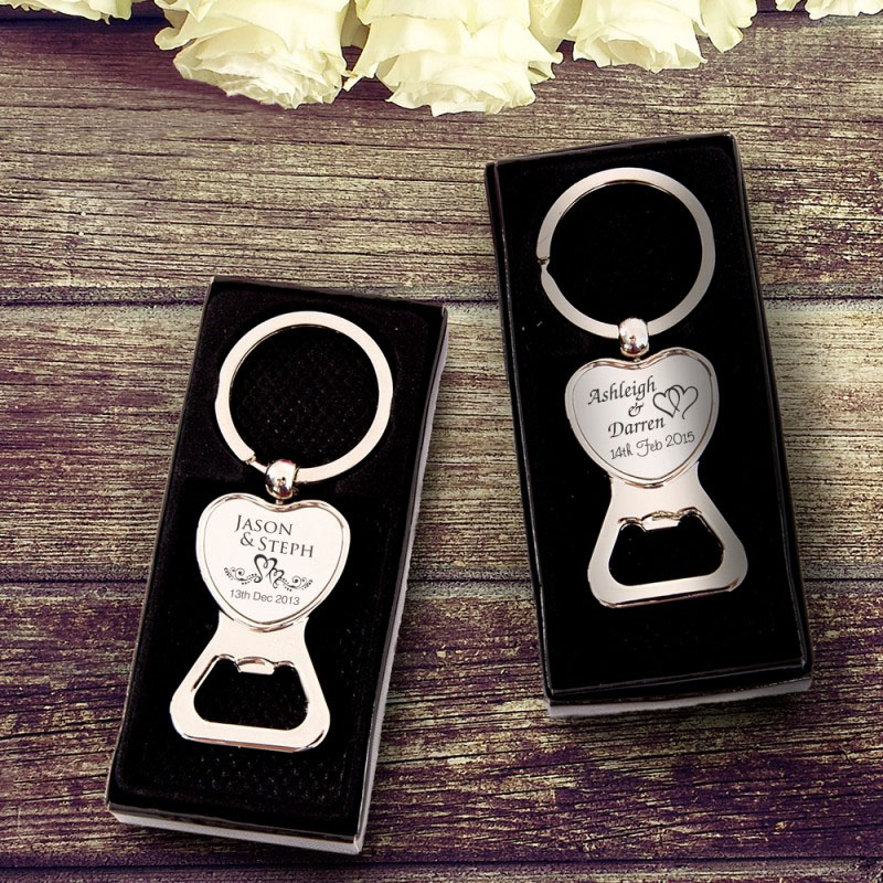 ... Heart Bottle Opener Keyring Wedding Favour Gift Personalised eBay