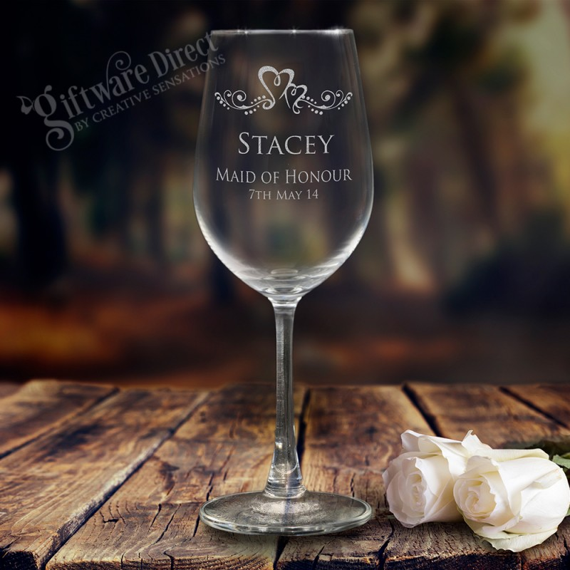 Engraved Wine Glasses For Wedding Gift : Personalised Engraved 350ml Wine Glass Goblet Wedding Bomboniere Gift ...