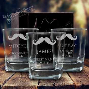 Engraved Quartet Wedding Whiskey Glass 280ml
