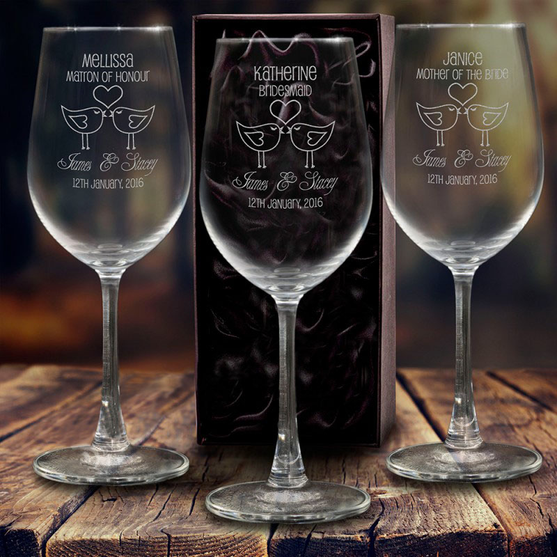 Etched Wine Glasses Wedding Gifts : Engraved 350ml Crystaline Wine Glass with Gift Box & Free Deluxe Pen ...
