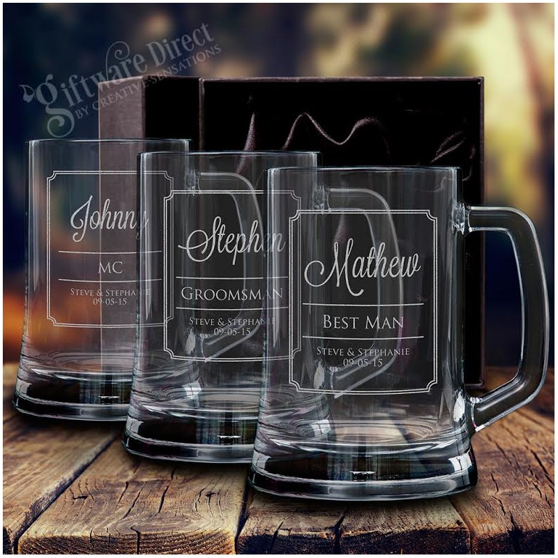Engraved Wedding Mugs : Personalised Engraved 500ml Deluxe Beer Mug Wedding Glasses