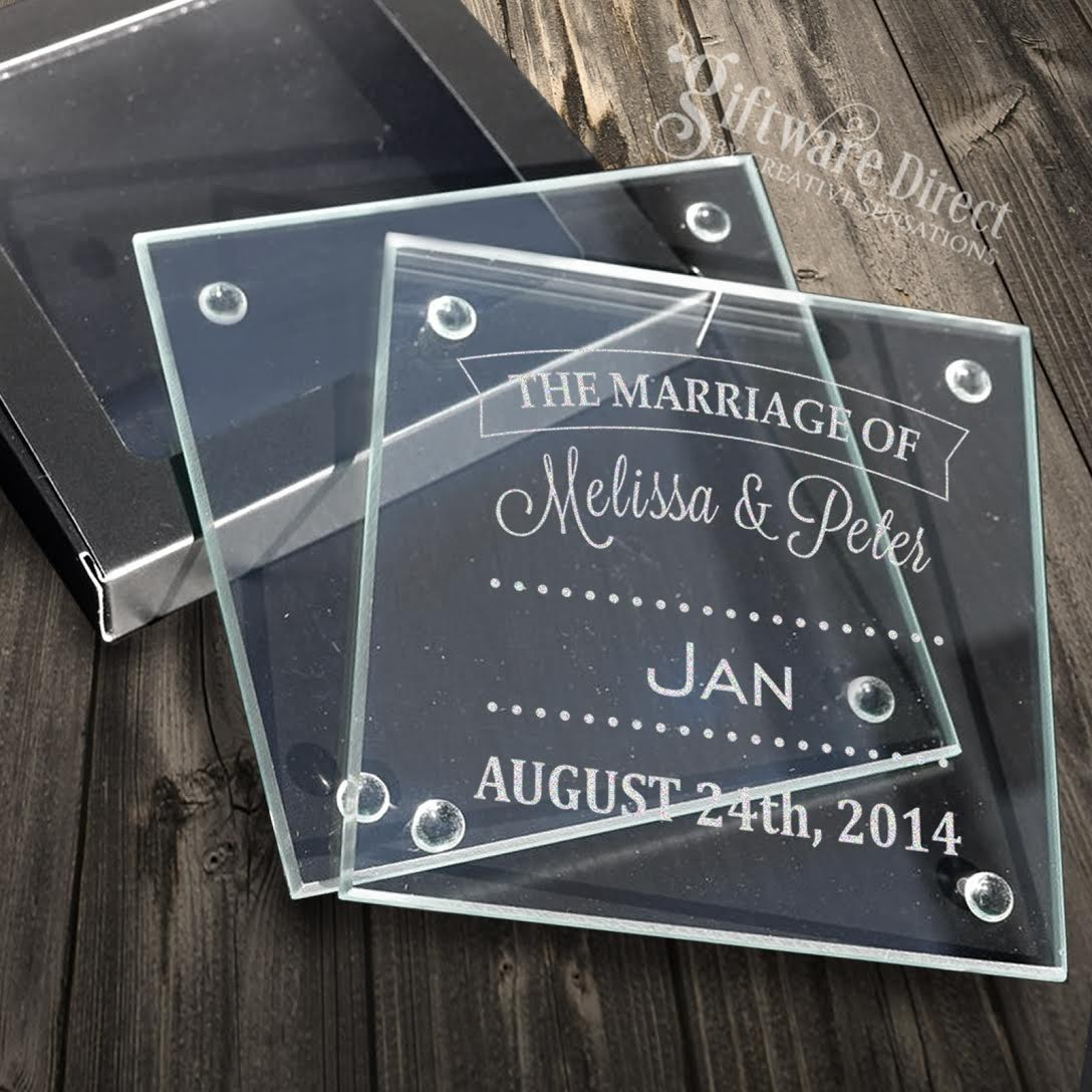Personalised Engraved Glass Wedding Coasters Wedding