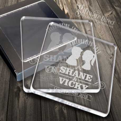 Personalised Acrylic Wedding Coaster Favours Engraved