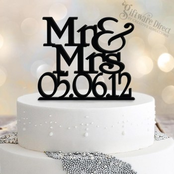 Personalised Cake Topper With Date Stacked Design