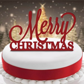 Acrylic Merry Christmas Cake Topper Design Pudding Xmas Kringle