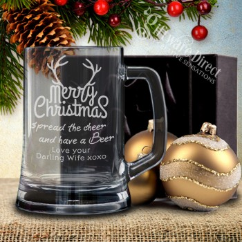Personalised Christmas Beer Mug Gift with laser engraving design