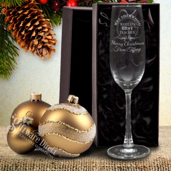 Personalised Christmas Champagne Glass Engraved Unique Present Gift