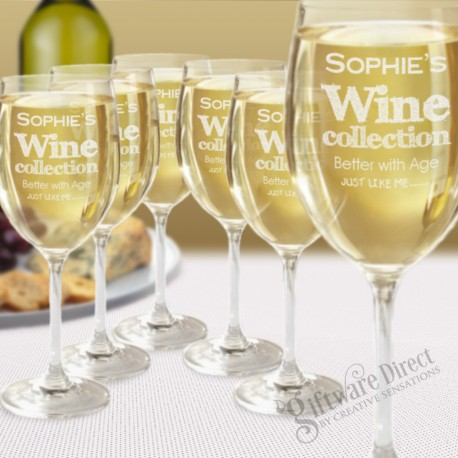 Set of 6 Laser Engraved 350ml Crystaline Wine Glasses Christmas Gift New Present