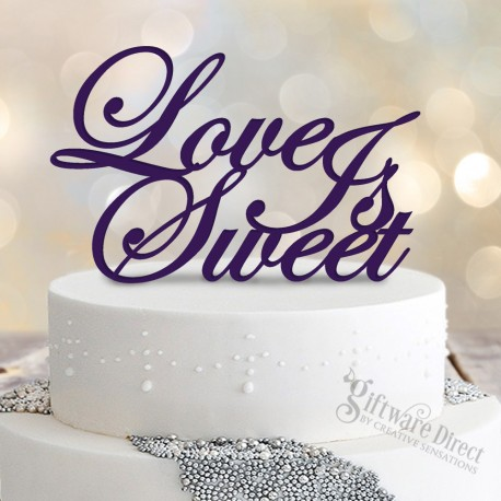 Love is Sweet Standard acrylic wedding cake topper