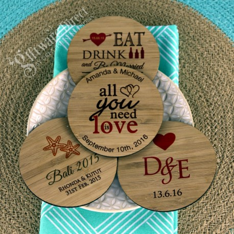 Personalised engraved printed wood wooden bamboo coasters wedding favours