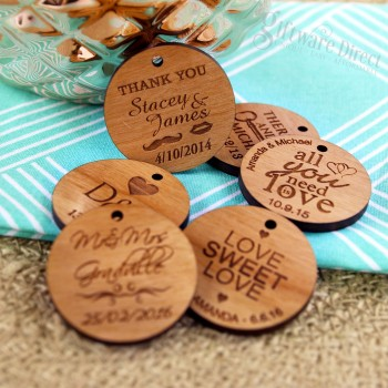 Engraved Round Wooden Gift Tag with Raffia