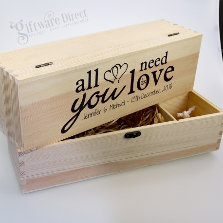 Personalised Wooden Wedding Wine Box Natural Pine