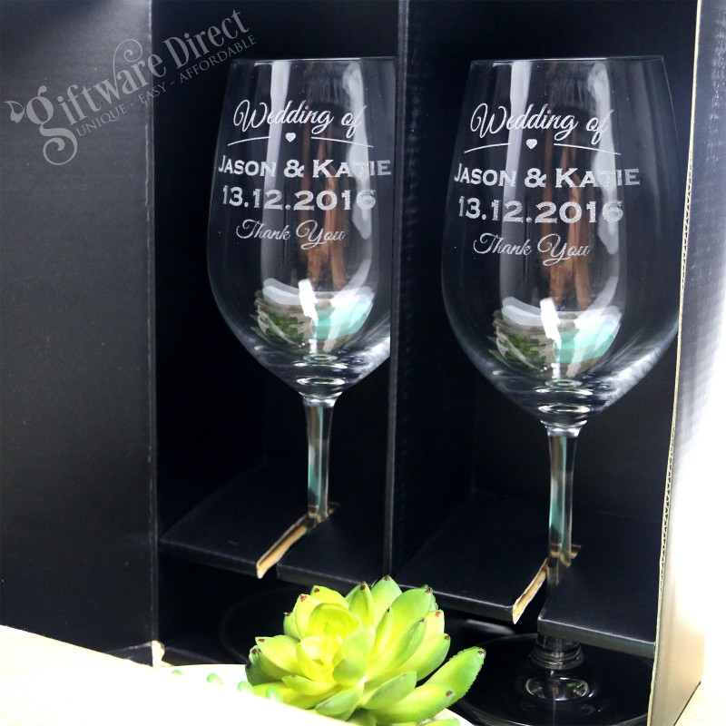 ... Wine Glass Double Gift Boxed Twin Set Engraved Personalised Wedding Gift ...