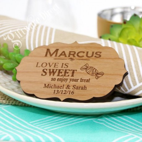 Wooden Vintage Wedding Placecard with Magnet