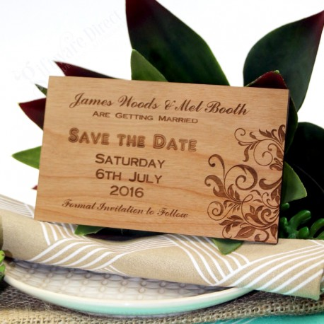 11B Engraved Wooden Wedding Save The Date Invitation