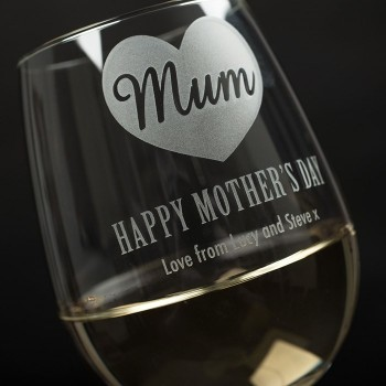 Personalised Engraved Mothers Day Stemless Wine Glass Gift