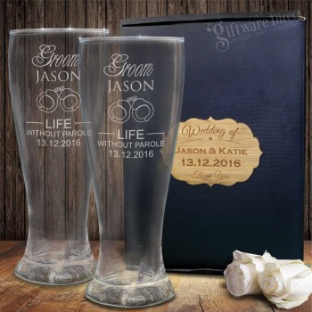 Double Schooner Glass Set Gift Boxed Engraved Wedding