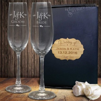 Double Champagne Glass Set Gift Boxed +PLAQUE Engraved Wedding