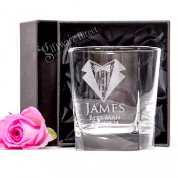 engraved quartet scotch glass for groomsman gift