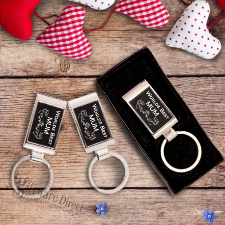 mothers day worlds best mum engraved keyring gift boxed chrome