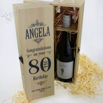 Personalised Birthday Wooden Wine Box - All Ages Available