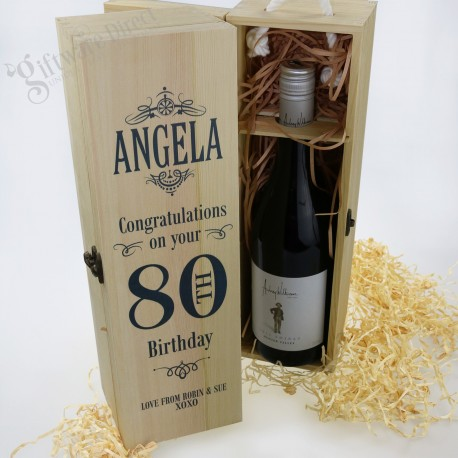 Personalised Birthday Wooden Wine Box All Ages Available