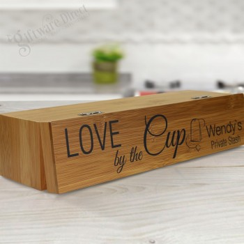 Mothers Day Bamboo Tea Box with Personalised Lid