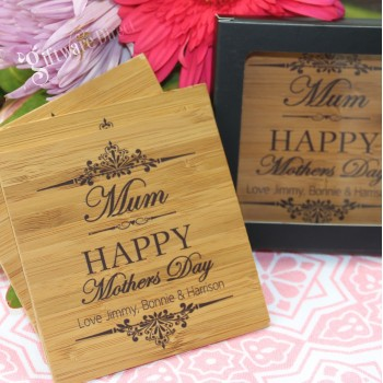 Personalised Mothers Day Bamboo Coaster with FREE Gift Box