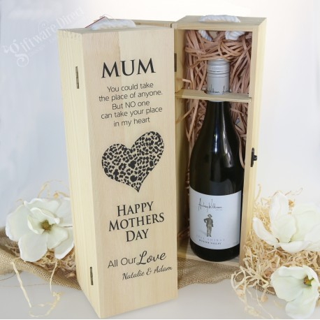 Mothers Day Personalised Wooden Wine Box Natural Pine