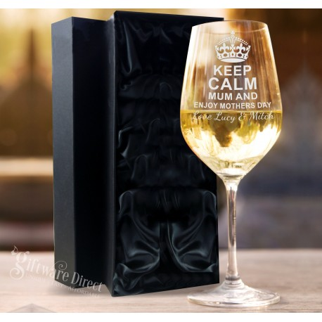 Personalised Engraved mothers day wine glass