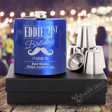Birthday 7oz Blue Hip Flask Gift Set Engraved Stainless
