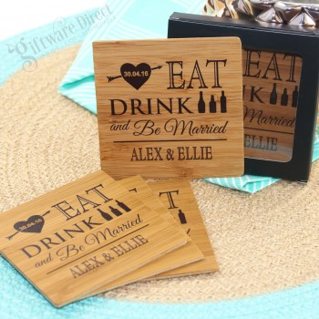 Personalised engraved printed wood wooden bamboo coasters wedding favours square