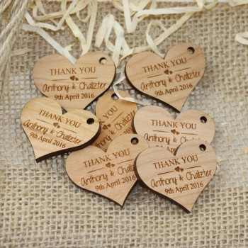 Engraved Heart Wooden Gift Tag With Raffia