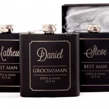 6oz Black Hip Flask Gift Set Engraved Stainless