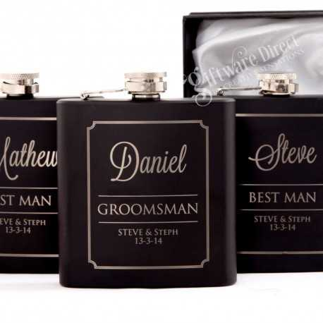 personalised engraved black hip flask gift set ideal for groomsman and best man
