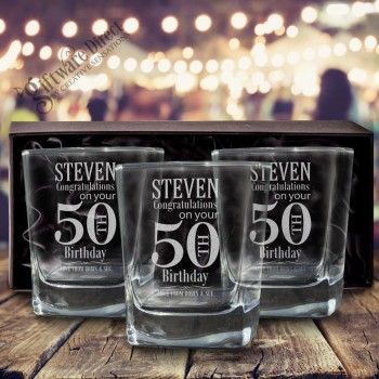 Birthday Engraved Triple Scotch Glass Set