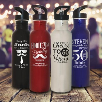 Personalised Birthday Deluxe 800ml Stainless Drink Bottle