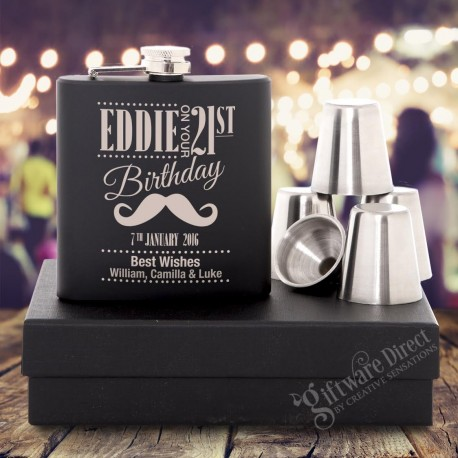 Birthday 6oz Black Hip Flask Gift Set Engraved Stainless