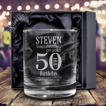 Engraved Birthday 300ml Scotch Glass Spirit Tumbler