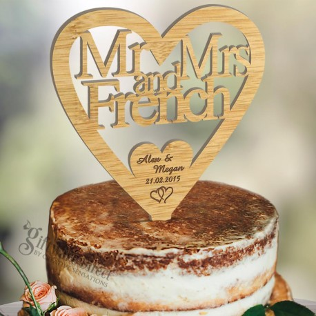 Personalised Wooden Heart Wedding Cake Topper Laser Cut With Surname
