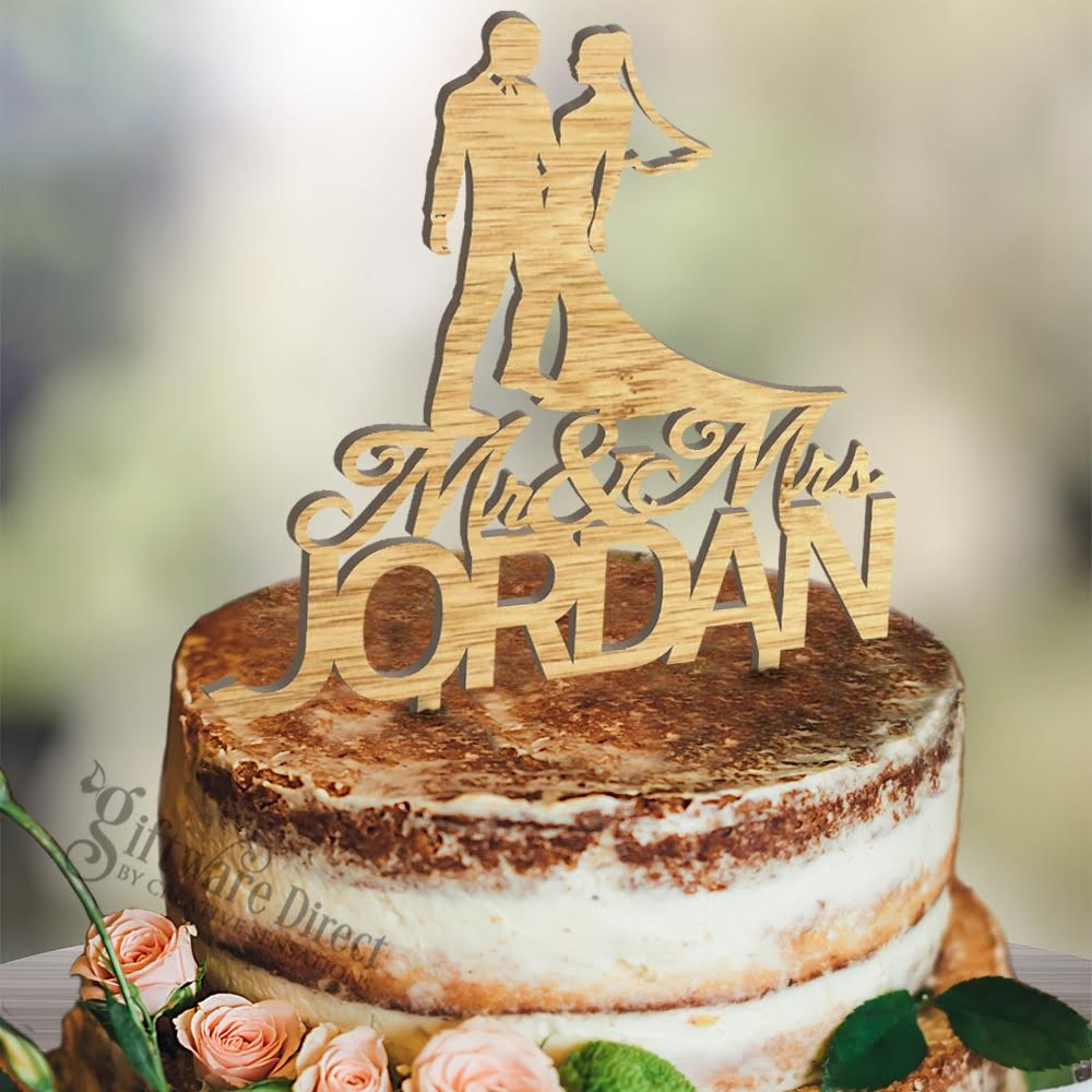 Personalised Bride Groom Wooden Surname Cake Topper