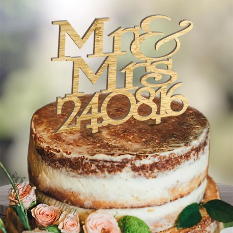 Personalised Mr&Mrs Wooden Cake Topper with Date Stacked Design