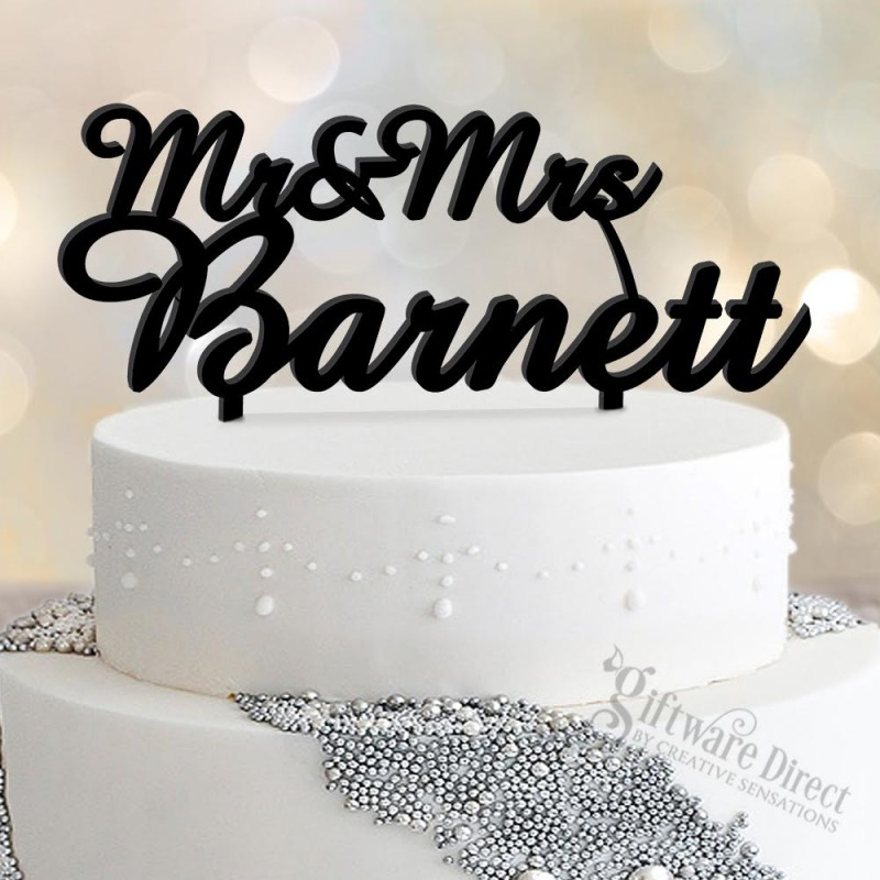 Personalised Acrylic Cake Topper Custom Laser Cut Design With Surname