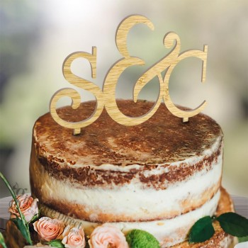 Personalised Initial Wooden Cake Topper with Ampersound