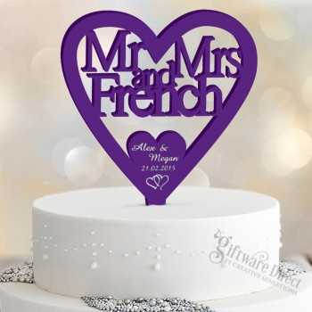Personalised Mr&Mrs Heart Acrylic Cake Topper