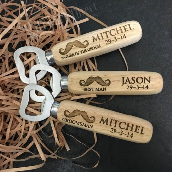 Bridal Party Personalised Engraved Stainless Steel Bottle Opener With Timber Handle