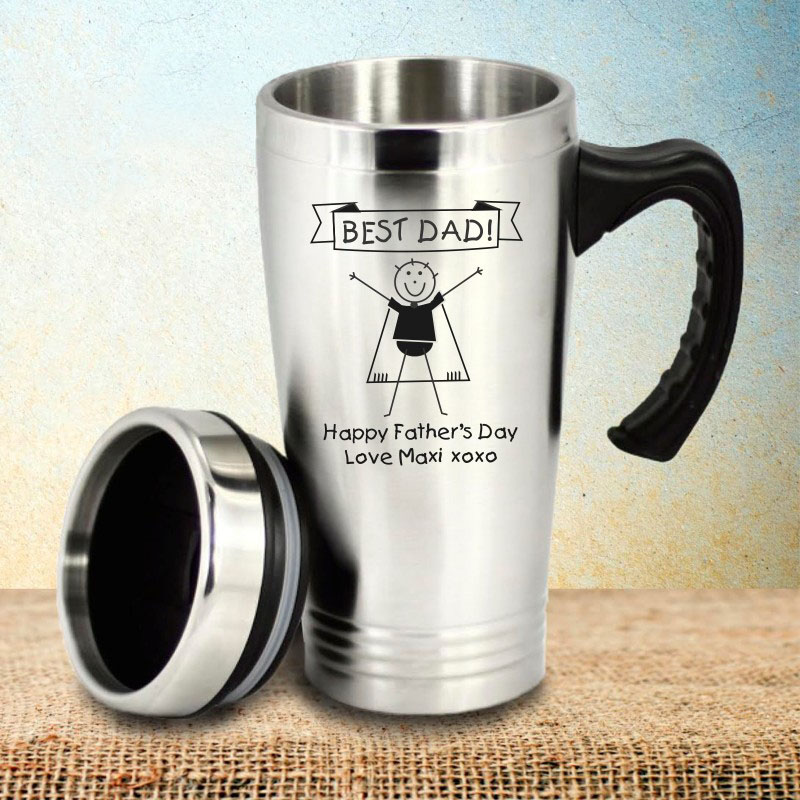 Any Year Travel Mug,Thermal,Flask,Daddy,Announcement,New Dad Daddy Since 2017