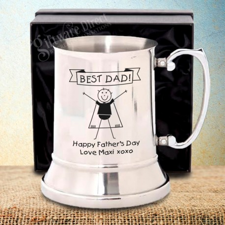 Fathers Day Stainless Beer Tankard Personalised